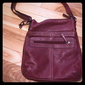 Crossbody Fossil bag burgundy leather